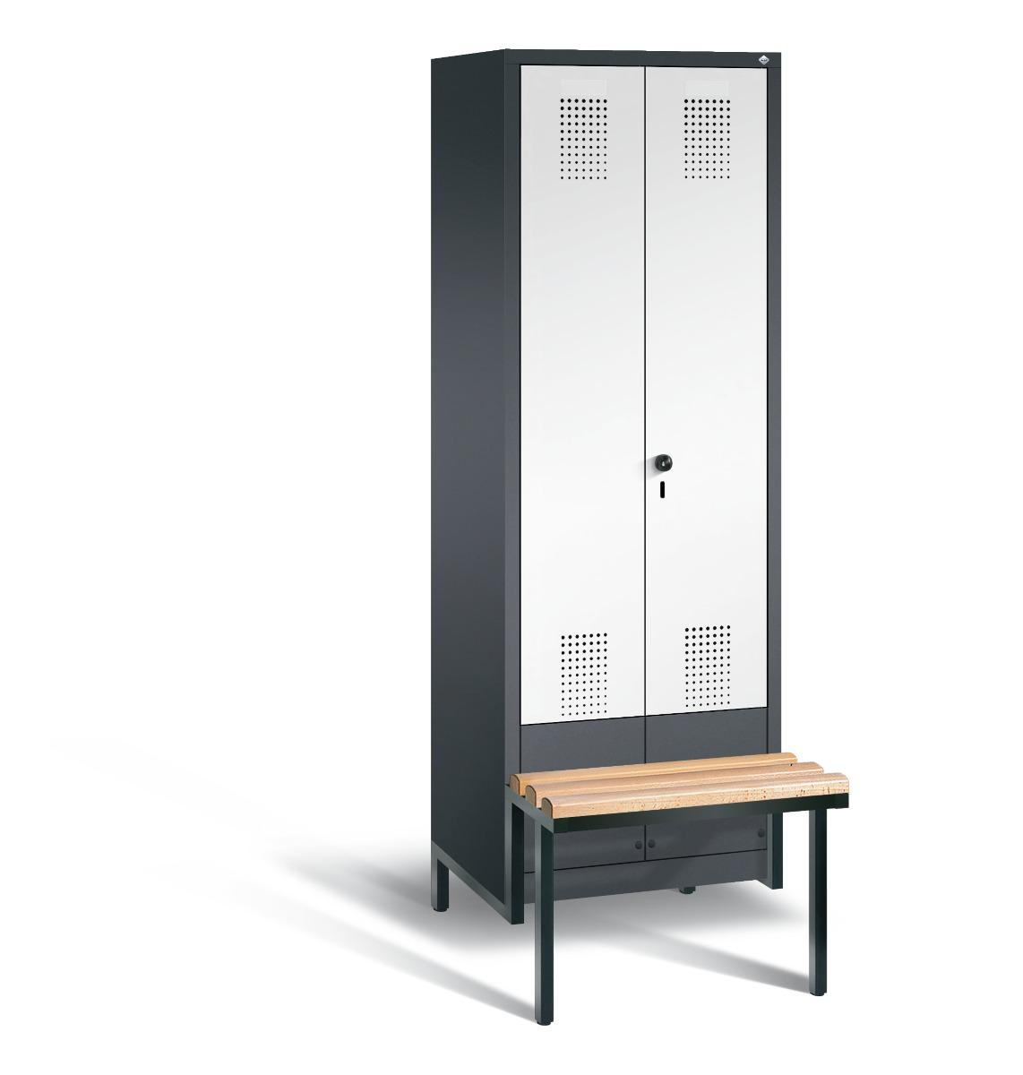 Garderobekast met zitbank en naar elkaar toeslaande deuren S3500 Evolo