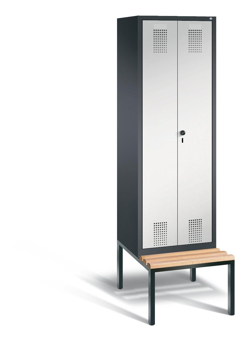 Garderobekast met ondergebouwde zitbank en naar elkaar toeslaande deuren S3500 Evolo