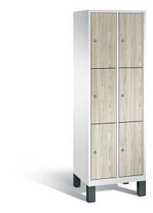 Vakkenkast met poten en 3 vakken boven elkaar met houten deuren S3500 Evolo